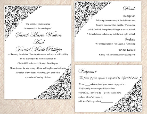 DIY Wedding Invitation Template Set Editable Word File Instant – Invite Templates Word
