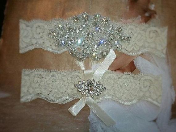 Свадьба - SALE -Shop Best Seller Wedding Garter Set- Crystal Rhinestone on a Ivory Lace-Style G2047