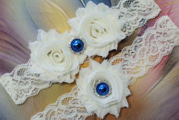 Wedding - Bridal Garter Set Wedding Garter Set with Blue Pearl Wedding Garter Shabby Flower Garter Shabby Chick Garter Vintage Inspire Garter