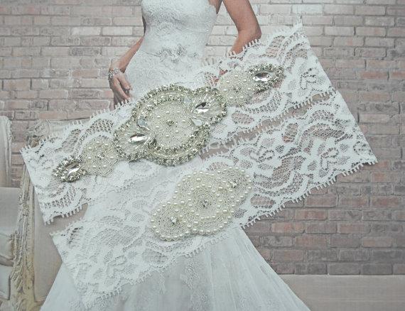 Wedding - Wedding Garters Bridal Garters Lace Garter Rhinestone Crystal Bridal Garter Toss Garter and Keepsake Garder Rhinestone Garter White Lace