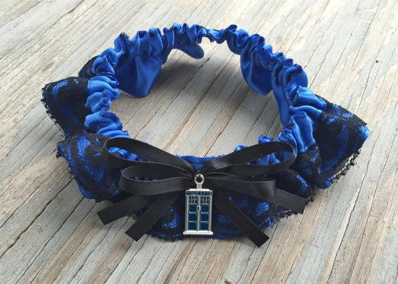 Wedding - Doctor Who Tardis Royal Blue & Black Lace Layerd Bridal Satin Wedding Garter Keepsake Or Garter Set Something Blue