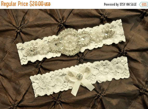Wedding - ON SALE Wedding Garter Belt, Bridal Garter Set - Ivory Lace Garter, Keepsake Garter, Toss Garter, Crystal Embellishment Ivory, Ivory Wedding