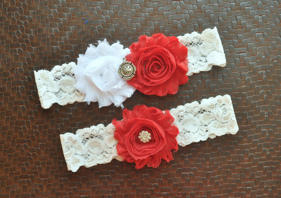 Hochzeit - Firefighter Wedding Garter Set, Fire Department Bridal Garter Set, White Lace Wedding Garter, Firefighter Garter, Fireman Service Garter