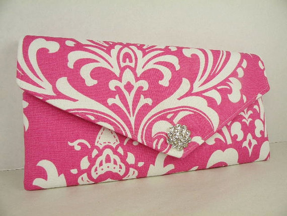 Mariage - Envelope Clutch/Purse/Wedding/Bridesmaid Gift--Candy Pink-Hot Pink & White-OZBORNE Damask with Crystal