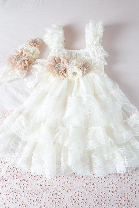 Wedding - Ivory Flower Girl Dress -Ivory Lace Baby Doll Dress-Rustic Flower Girl Dress-Vintage Flower Girl Dress-Shabby Chic Flower Girl Dress-Country