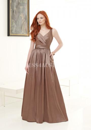 Свадьба - Buy Australia Brown A-line V-neck Taffeta Pocket Accent Floor Length Bridesmaid Dresses by MLGowns ML612 at AU$133.52 - Dress4Australia.com.au