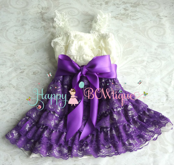 Wedding - Flower girl dress- Purple Ivory Plum Bow Lace Dress, baby girl dress,Rustic wedding dress,baby dress,flower girl dress,Purple dress,Birthday