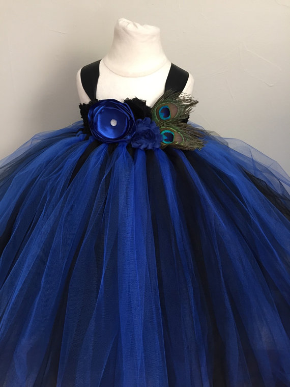 Black blue flower girl dress 13