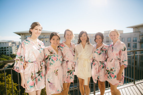 Hochzeit - Set of 6 Bridesmaid Robes, Satin Bridesmaid robes, Bridesmaid gifts, Kimono robe, Bridesmaid gift ideas