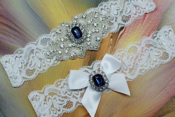 Hochzeit - Wedding Garter Rhinestone Garter Bridal Garter Wedding Garters Blue Rhinestone Garter Rhinestone Crystal Garter Set Crystal Garter
