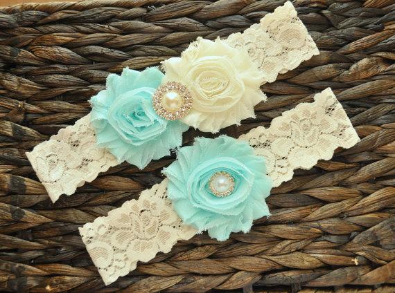 Hochzeit - Wedding Garter Set, Bridal Garter Set, Light Aqua Wedding Garter, Light Aqua Bridal Garter, Ivory Lace Garter, Ivory Wedding Garter Belt