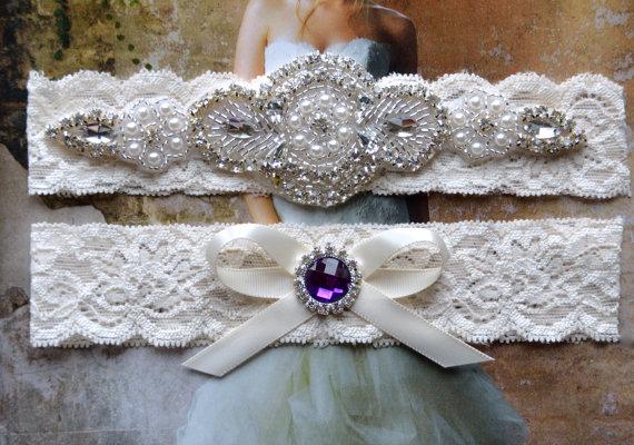 Hochzeit - Vintage Purple Wedding Garter, Crystal Bridal Garter Set, Vintage Inspired Wedding Stretch Lace Garter, Bridal Garter, Garter