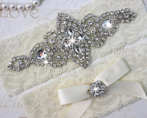 Hochzeit - Best Seller - CHLOE - Wedding Garter Set, Wedding Stretch Lace Garter, Rhinestone Crystal Bridal Garters