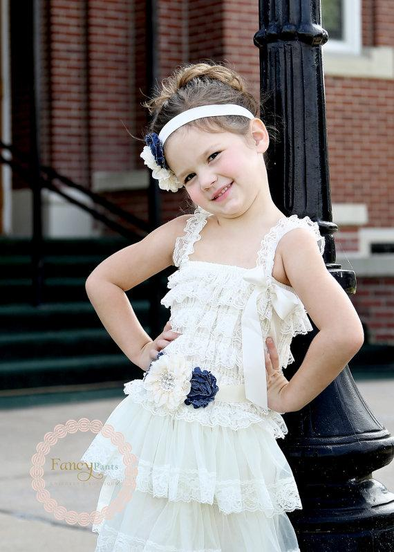 Wedding - Ivory Flower Girl Dress, Denim and ivory dress, Cowgirl Dress, Rustic Flower Girl Dress, Ivory Lace Dress, Cowgirl dress