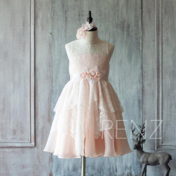 Mariage - 2015 Blush Pink Junior Bridesmaid Dress, Illusion neck Ruffle Flower Girl Dress, Peach Rosette dress, Puffy dress,Floral headdress (HK117)