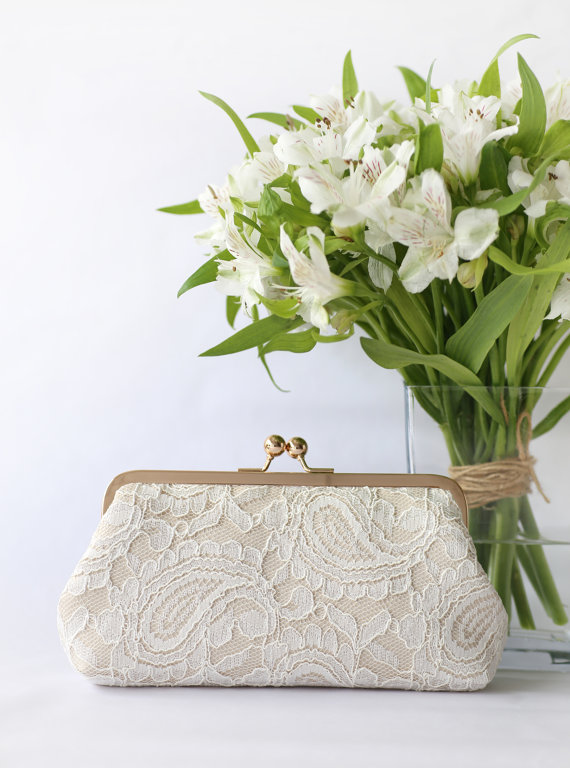 Wedding - Champagne and Ivory Alencon Parsley Lace Clutch