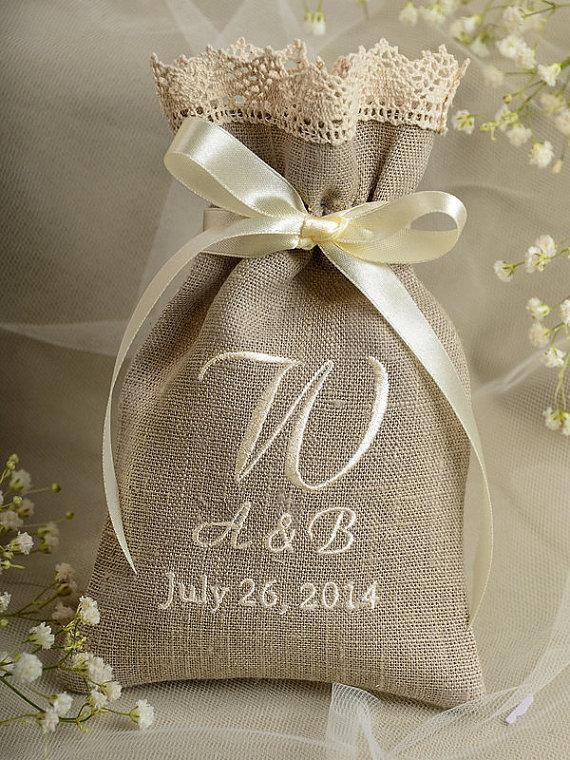 Custom Listing 100 Natural Rustic Linen Wedding Favor Bag Lace County Style Bags Embroidery Model No 03 Shchic Bg