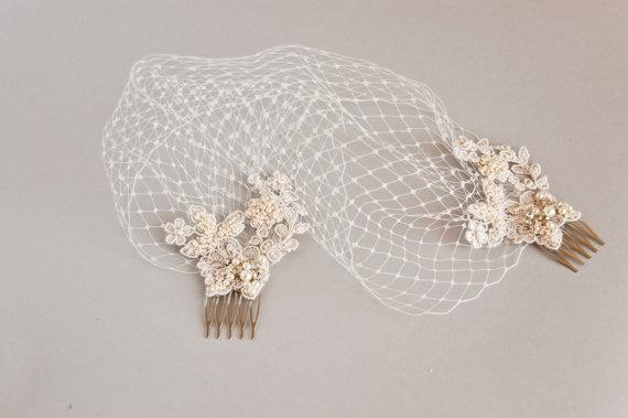Свадьба - Lace birdcage veil, Ivory birdcage veil, Wedding veil, Lace hair piece, Bridal head piece, Lace birdcage fascinator