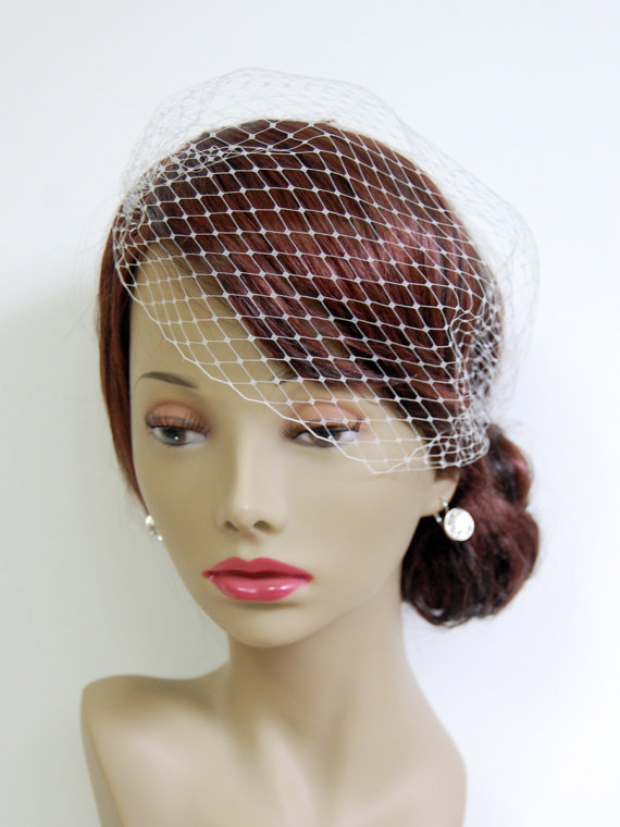 """Свадьба - Small (12"""") Bandeau Birdcage Veil : V002 made to order, white, ivory, champagne, or black"""