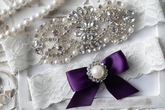 Hochzeit - SALE - Plum Wedding Garter, Bridal Garter Set - Ivory Lace Garter, Keepsake Garter, Toss Garter, Plum & Ivory Wedding - Style 770
