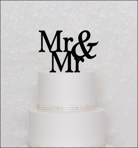Mariage - Mr and Mr Monogram Wedding Cake Topper in Black, Gold, or Silver