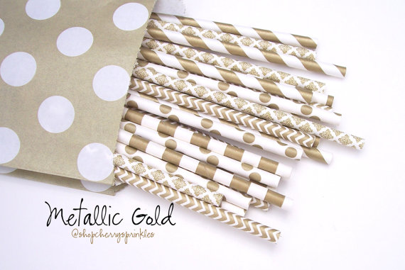Свадьба - Gold Straws -GOLD Paper Party Straws Wedding, Shower, or any Celebration -Gold Chevron, polkadot and stripes multipack, 25 pcs *Gold Decor