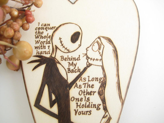 nightmare before christmas wedding cake topper jack and sally halloween wedding rustic wooden heart pyrography personalizable unique