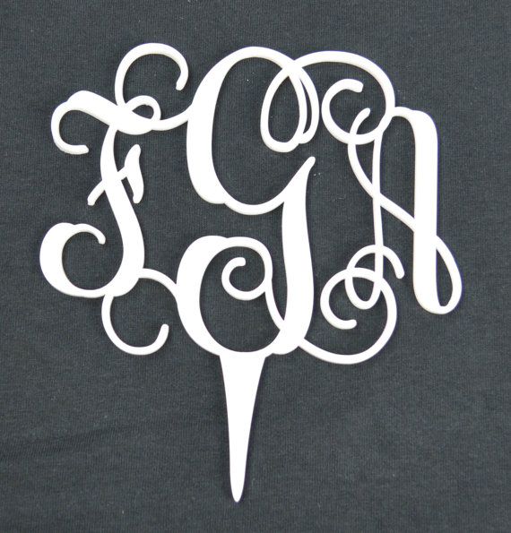 Mariage - Wedding/Cupcake Topper- 2 or 4 pack Couple Monogram- Vine Letters