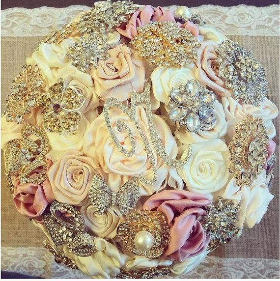 Wedding - Satin Flower Brooch Bouquet