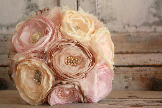 Wedding Bouquet, Champagne Cream And Blush Fabric Flower Bridal ...