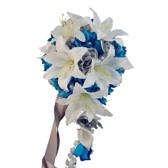 Wedding - Large Cascade bouquet-Turquoise Malibu silver cream