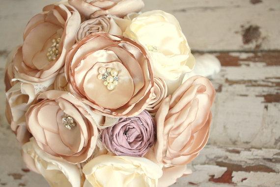 Wedding Bouquet Blush Champagne And Dusty Pink Bridal Fabric Flower Mauve Keepsake