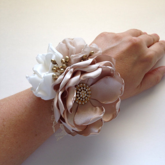 Wrist Corsage Champagne Ivory And Gold Fabric Flower Bracelet