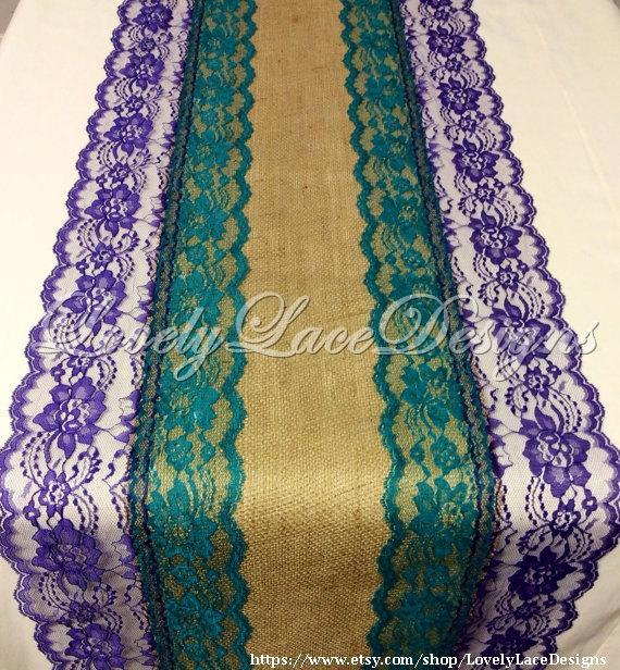 Свадьба - 12ft-20ft Peacock Wedding Burlap Lace Table Runner with Teal/Purple,16in Wide, Wedding Decor, Peacock Weddings/ Home Decor/ Gift