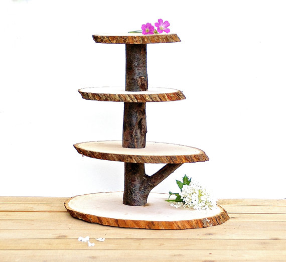 Свадьба - Wooden Cupcake Stand Rustic Wood Tree Slice Centerpieces Wedding Decorations Wooden Rounds