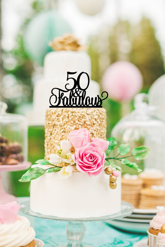 Original 50 And Fabulous 50th Birthday Cake Topper 0025 2378337