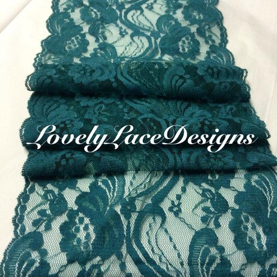 Teal Lace Table Runner 7 Wide X12ft 20ft Long Wedding Decor Pea Weddings Overlay October Trends Fall