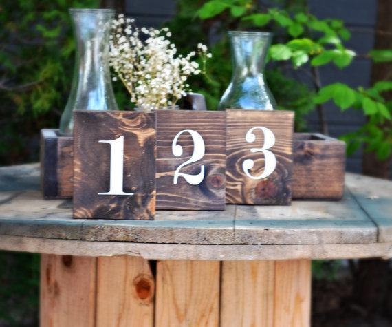 Hochzeit - Table Numbers, Wedding Numbers, Wood Table Numbers, Rustic Wedding, Double Sided Numbers, Wooden Number, Block Number