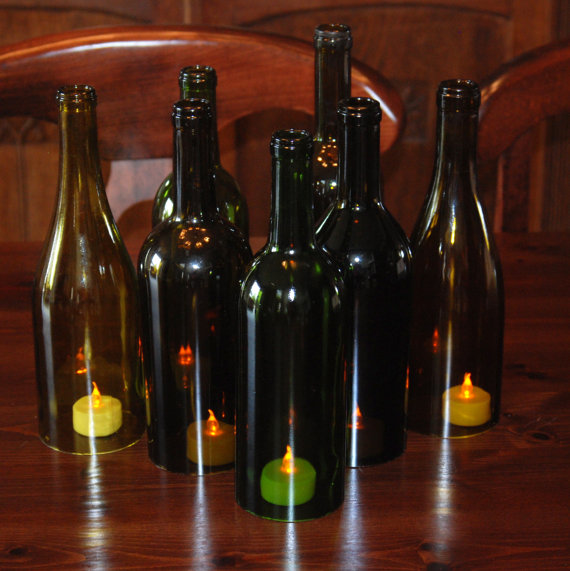 Mariage - Set of 7 Hand Cut Wine Bottle Hurricane Candles- Perfect Centerpiece
