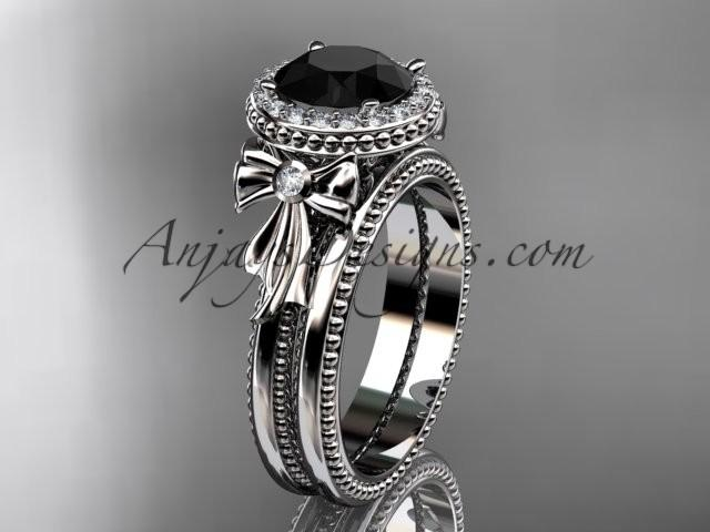 Свадьба - 14kt white gold diamond unique engagement set, wedding ring with a Black Diamond center stone ADER157S