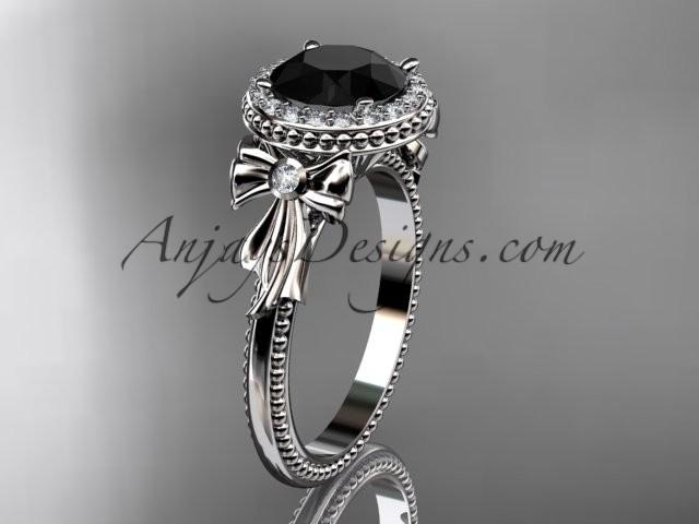 Wedding - platinum diamond unique engagement ring, wedding ring with a Black Diamond center stone ADER157