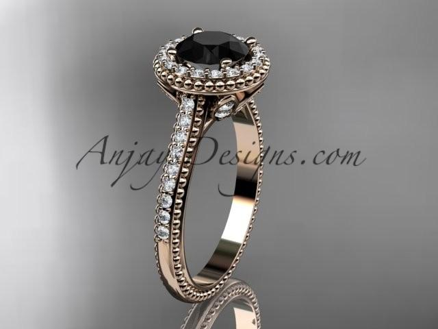 Wedding - 14kt rose gold diamond floral wedding ring, engagement ring with a Black Diamond center stone ADLR101
