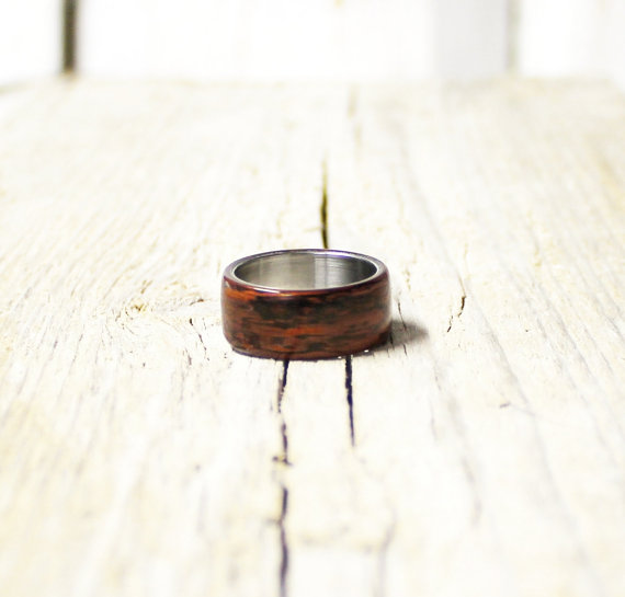 زفاف - Mahogany wood and stainless steel ring unisex wood ring