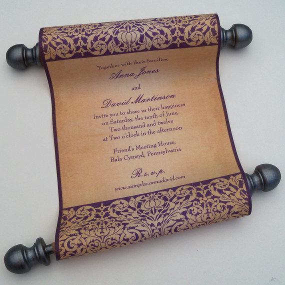 Свадьба - Fairytale Wedding Invitation, vintage medieval, fabric scroll, pewter and wine, castle wedding invitation, set of 10