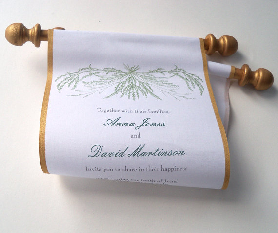 Свадьба - Fall wheat wedding invitation scroll, fabric scroll, gold and green wedding, rustic invitation, farm wedding, country wedding invitation, 10