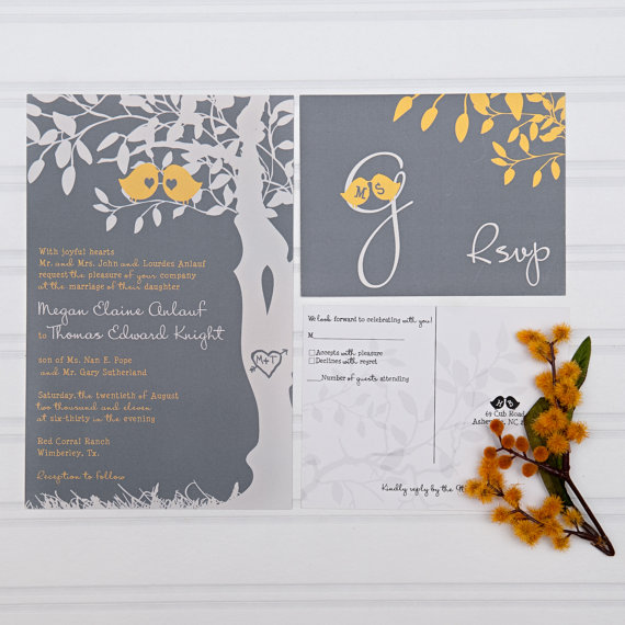 Свадьба - Yellow and Gray Wedding Invitations, Love Birds in a Tree Custom Invites, 100 Sets, Sample, Black Friday Sale, Discount Wedding Invitations