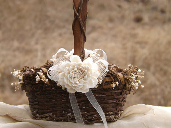 Mariage - Rustic Flower Girl Basket Sola Flower with Burlap Made to Order