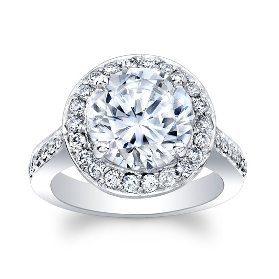 """Hochzeit - Ladies 18k white gold engagement ring with 4 ct Round """"Forever Brilliant"""" Moissanite Center 0.70 carats of natural diamonds F-G VS 1-2"""