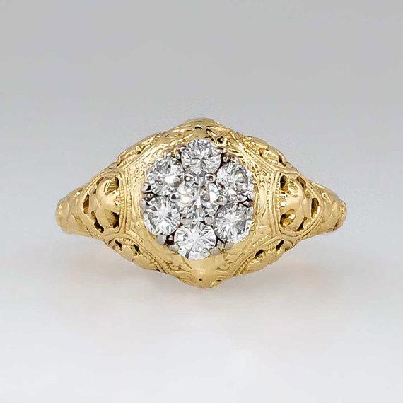 Hochzeit - Beautiful Vintage Jabel .44ct t.w. Diamond Floral Engagement Ring 18k/Platinum