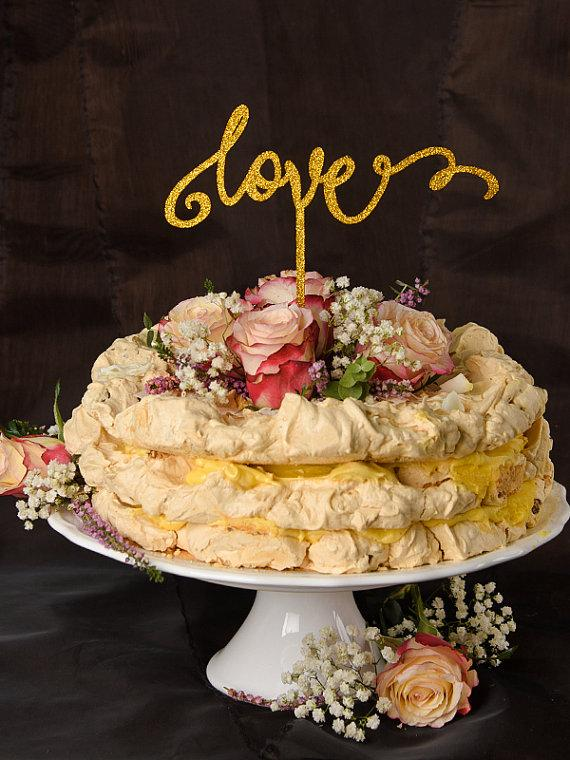 Mariage - Wedding Gold Cake Topper, Custom Cake Topper Gold, Glitter Cake Topper,, Love Cake Topper Wedding, Model no: 13/gltt/CT